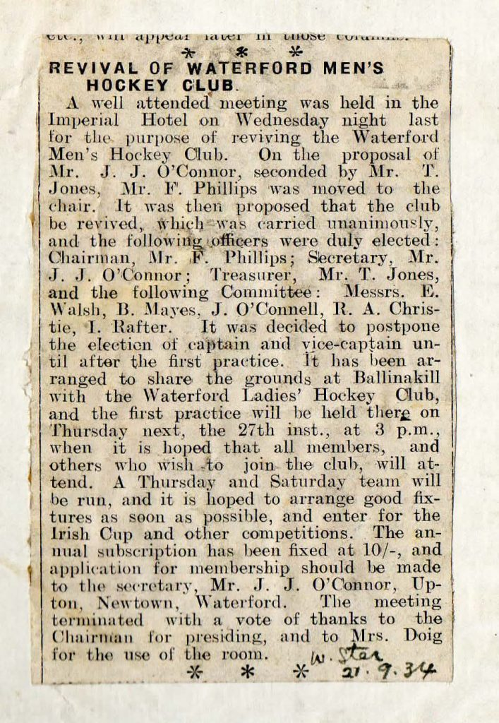 Revival of Waterford Men's Waterford Club press cutting 21st September 1934.