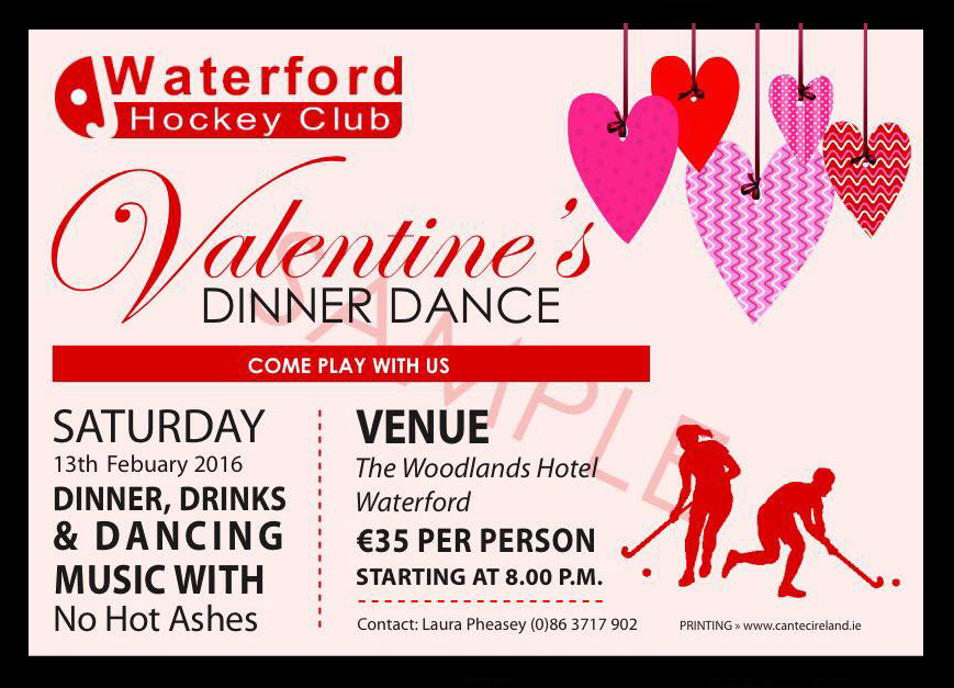 Valentine's Dinner Dance ticket from February 2016.