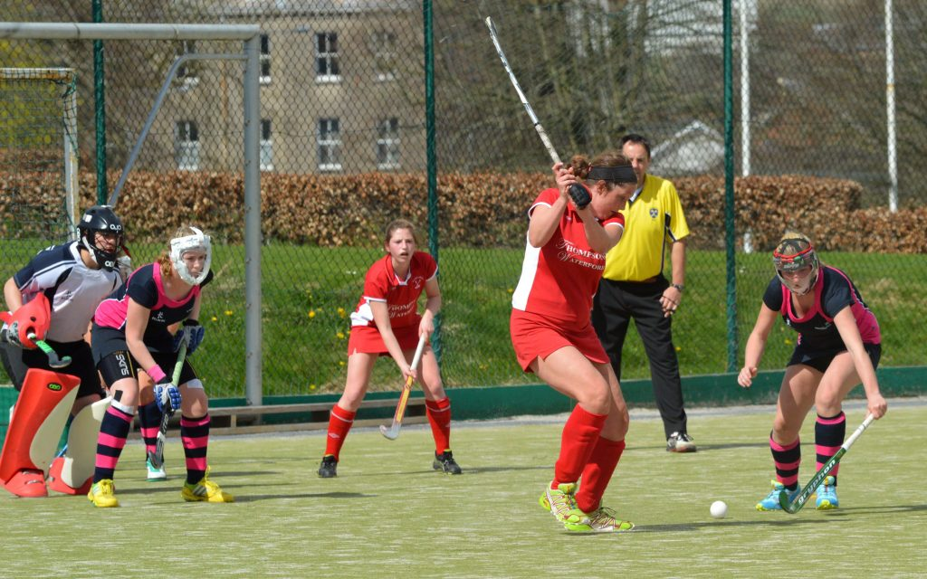 Waterford Hockey Club Senior Ladies go for goal.