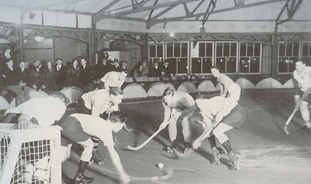 Indoor roller skating hockey played in Waterford city.
